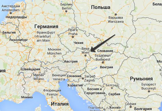 Расположении Вены на карте мира